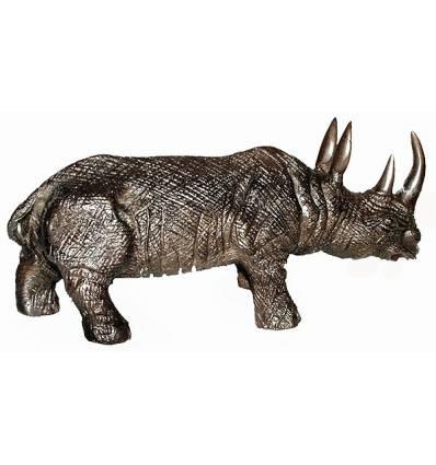 rhinocéros en bronze BRZ0136-9  ( H .22 x L :48 Cm )  Poids : 9 Kg