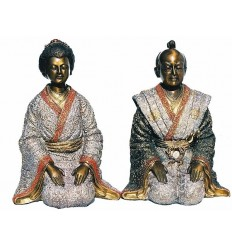Couple de japonnais en bronze BRZ0041-11  ( H .28 x L : Cm )  Poids : 6 Kg