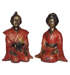 Couple de japonnais en bronze BRZ0041R-11  ( H .28 x L : Cm )  Poids : 8 Kg