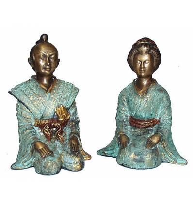 Couple de japonnais en bronze BRZ0041V-11  ( H .28 x L : Cm )  Poids : 8 Kg