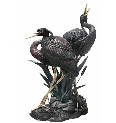 Héron en bronze BRZ0798  ( H .223 x L :177 Cm )