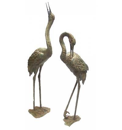 Héron en bronze BRZ366v  ( H .132 x L : Cm )  Poids : 24 Kg