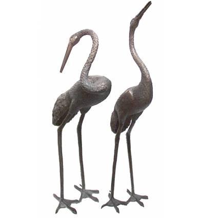 Héron en bronze BRZ592  ( H .167 x L :152 Cm )  Poids : 38 Kg