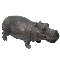 Hippopotame en bronze BRZ0667  ( H .48 x L :91 Cm )  Poids : 33 Kg