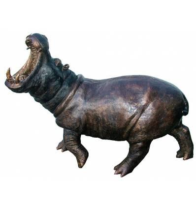 Hippopotame en bronze BRZ1331  ( H .122 x L :172 Cm )  Poids : 115 Kg