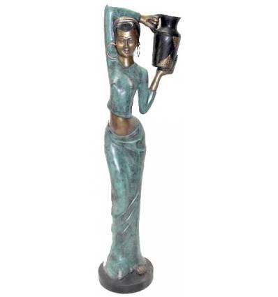 Sculpture africaine en bronze BRZ0006V-11 ( H .28 x L : Cm ) Poids : 1 Kg