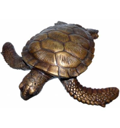 tortue en bronze BRZ0573  ( H .22 x L .22 Cm )  Poids : 1 Kg
