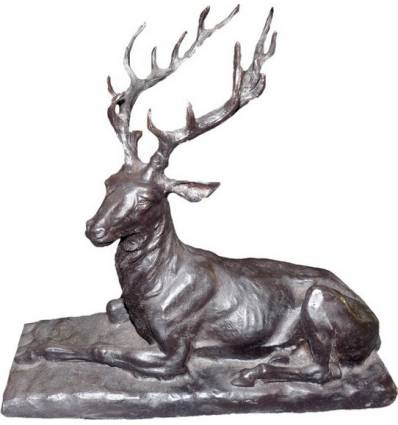 Cerf en bronze BRZ1702 H. 35 x L. 32 ( Cm ) - Poids : .3.5 Kg