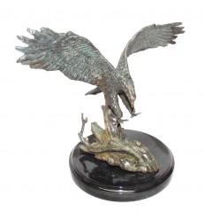 Aigle en bronze BRZ0899v-SM ( H .17 x L .23 Cm ) Poids : 1.5 Kg