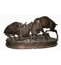 """Sculpture en bronze """"combat de cerfs"""" Réf : BRZ1536"""