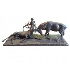 Sculpture en bronze de deux cerfs Réf : BRZ1641