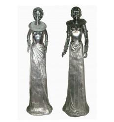 Sculpture africaine d'un couple en aluminium Réf : ALU1565