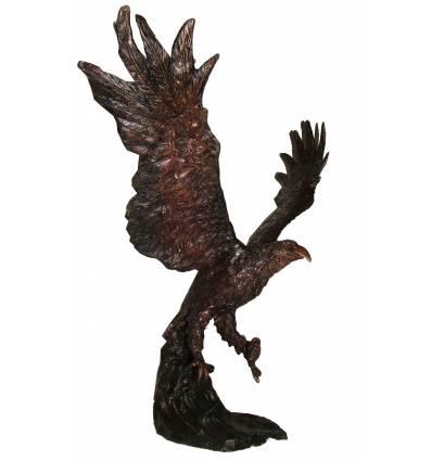 Bronze animalier : aigle en bronze BRZ0640  ( H .53 x L .25 Cm )  Poids : 6 Kg