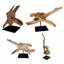 Sculptures en bois flotté - Ref. : lot de 4 sculptures