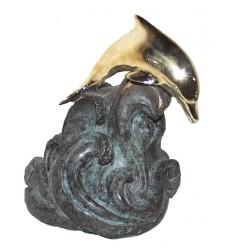 Bronze animalier : dauphin en bronze BRZ0939 ( H .18 x L . 15Cm ) Poids : 2 Kg