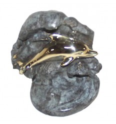 dauphin en bronze BRZ0940  ( H .18 x L .15 Cm )  Poids : 2 Kg