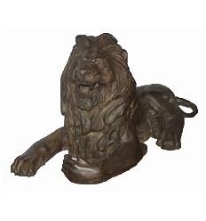 Couple de lions en bronze BRZ0178 ( H .35 x L :68 Cm ) Poids : 20 Kg