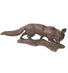 Renard en bronze BRZ1136 ( H .38 x L :107 Cm ) Poids : 29.5 Kg