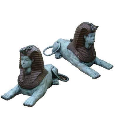 Couple de Sphinx BRZ0363V ( H .85 x L .190 Cm ) Poids : 262 Kg