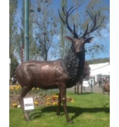 cerf en bronze et bois véritable brz1746C-BOIS (H 230 L 215) Poids 270 kgs